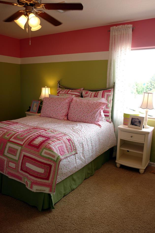 Окрашивание стен в зеленый и розовый цвета