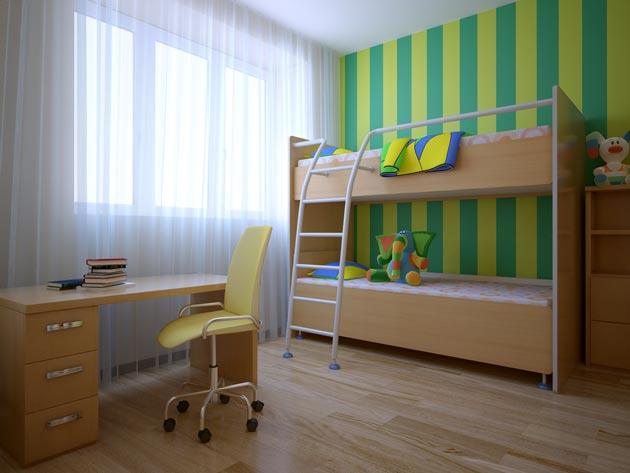 Яркий акцент на стене из зеленых и желтых полос
