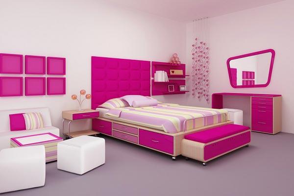 Стильная спальня для девочки 16-ти лет в розовых оттенках