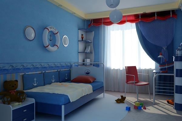 Окрашивание нижней части стены в синий, а верхней в голубой цвета