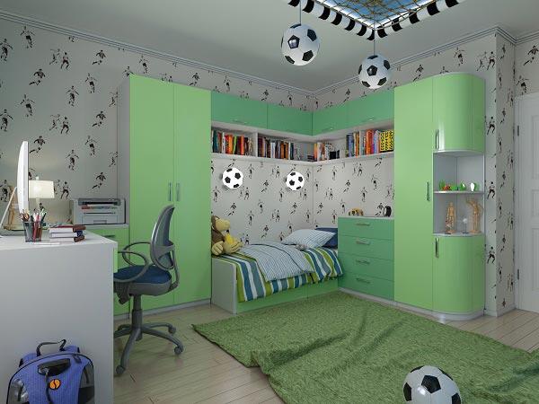 Футбольный стиль за счет использования зеленого цвета и светильников в виде мяча
