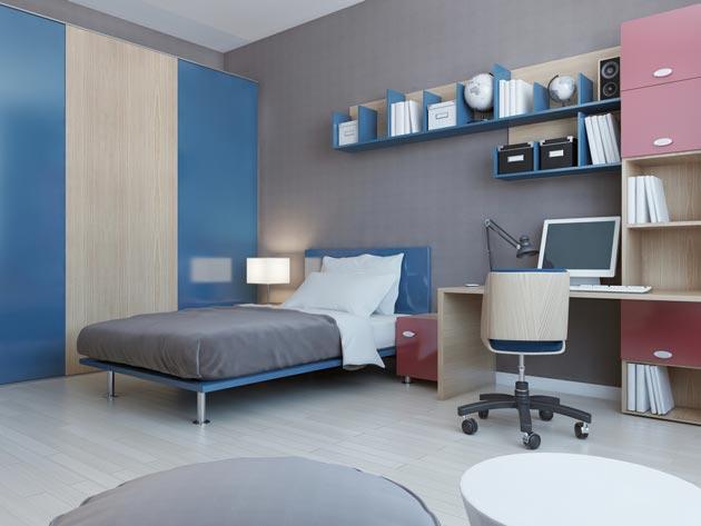 Серый цвет на стенах в интерьере в сочетании с синей светлой мебелью