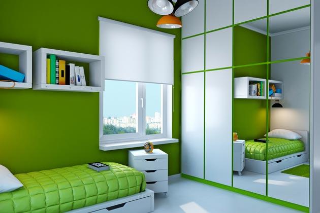 Оформление комнаты для подростка в зеленом цвете
