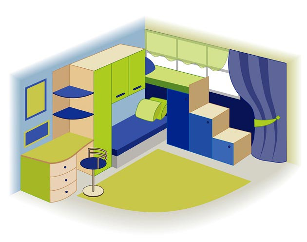 В комплексе с двухэтажной кроватью
