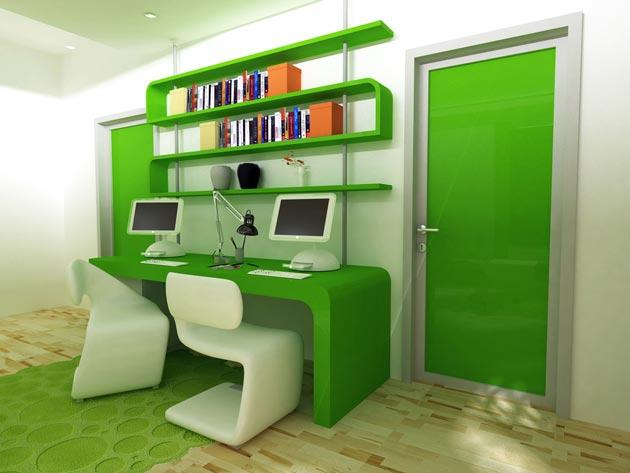 Оригинальное оформление рабочего места в комнате для двоих подростков