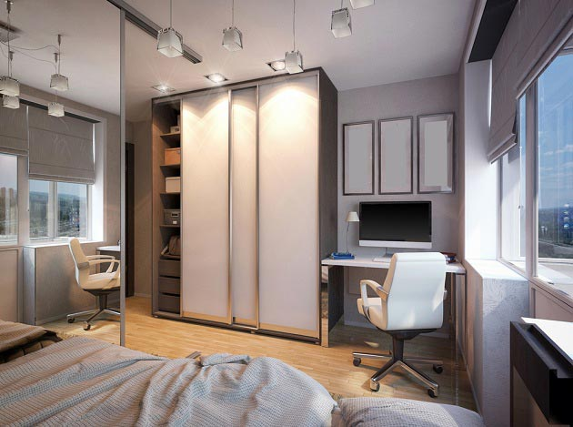 Шкаф купе, письменный стол и кровать в современном стиле