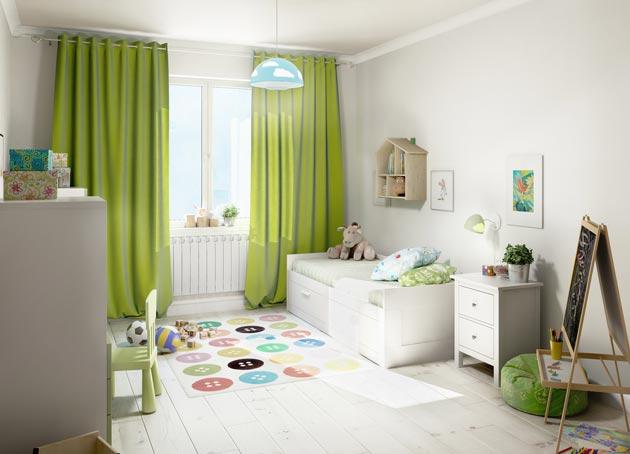 Универсальный дзайн комнаты в белом цвете с яркими шторами, пуфом, ковриком
