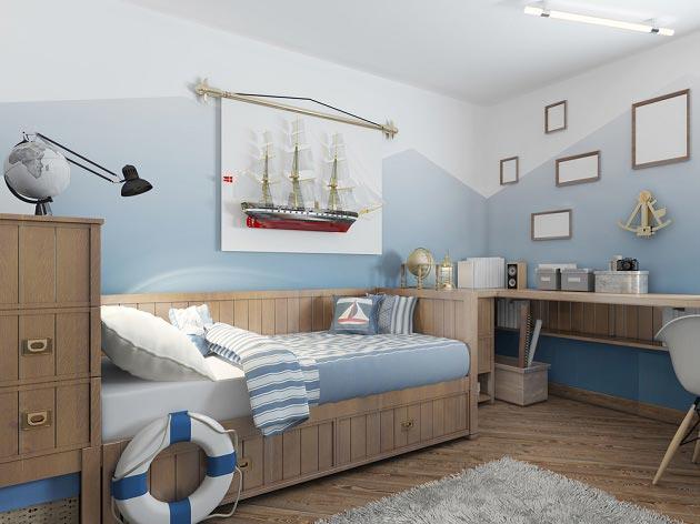 Создание морского стиля за счет атрибутики и деревянной мебели