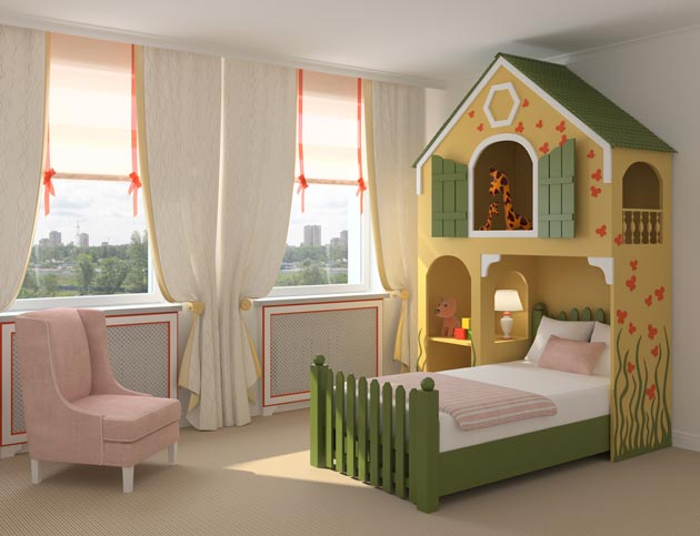 Сказочный домик из гипсокартона над кроватью в детской