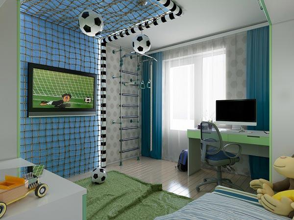 Красивая детская комната с оформлением на тему футбола