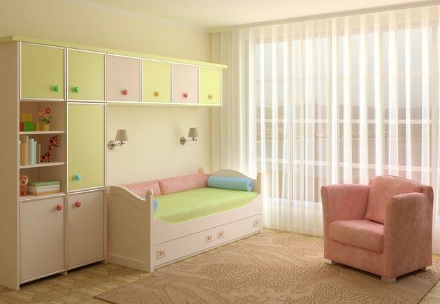 Мебельный гарнитур в светло желтом, белом и розовом оттенках