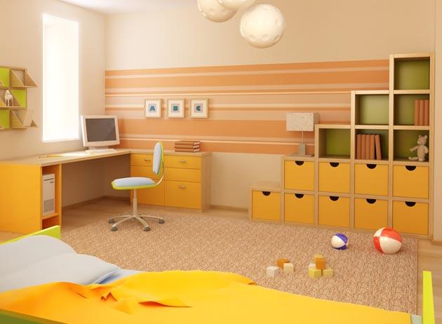 Интерьер детской с оригинальными стеллажами