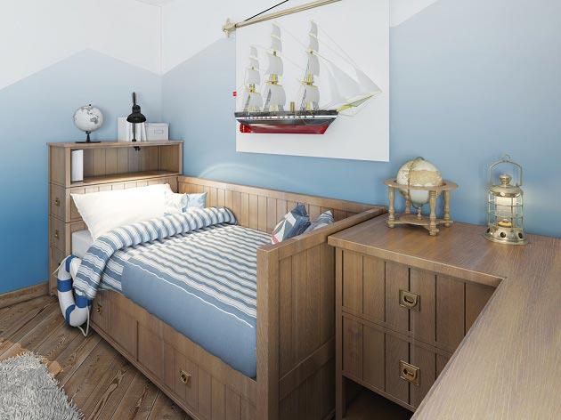 Стилизованная мебель под морскую каюту