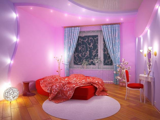 Красивый и оригинальный интерьер спальни для девочки подростка