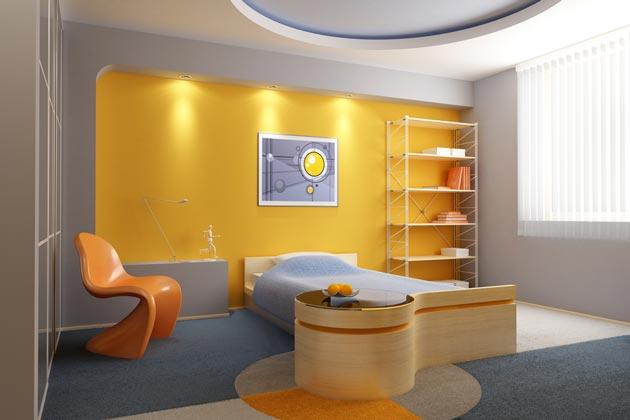 Необычная мебель и смелое сочетание красок в подростковом интерьере