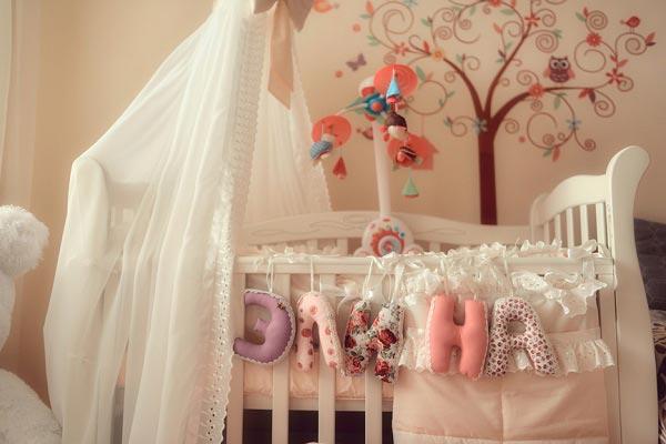 Буквы из текстиля с именем новорожденной
