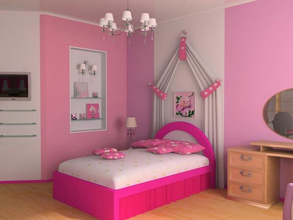 Дизайн стен и кровати для девочки в бело розовом цвете