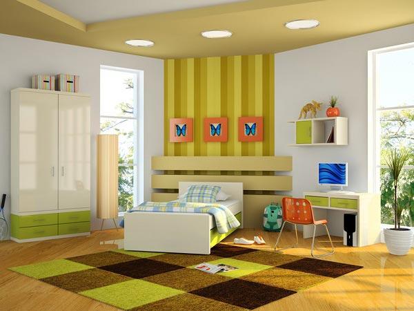 С белой мебелью и акцентами на стенах, потолке, полу