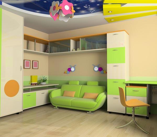 выделение зоны отдыха при помощи потолка