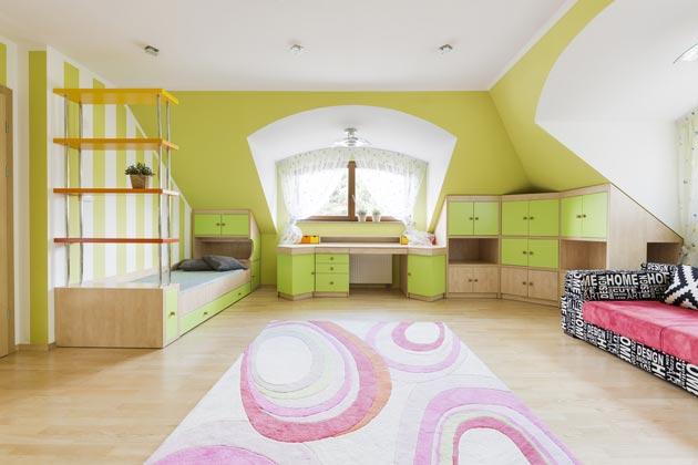 Четко выделенные зоны в комнате для сна и отдыха