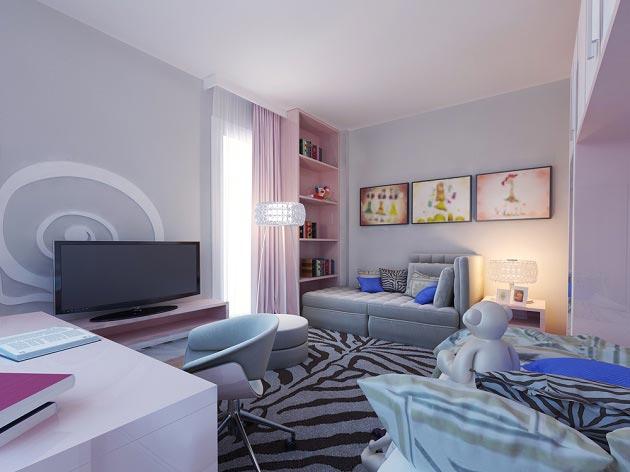 Разделение комнаты на зоны для старшего и младшего ребенка