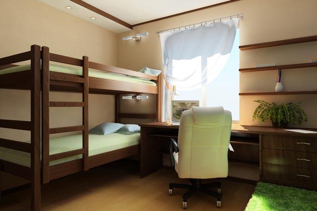 С двухэтажной кроватью с прямой лестницей