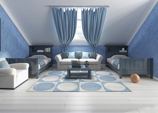 Вариант просторной детской спальни