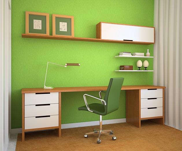 Стильное компьютерное кресло, полочки для книг и стол