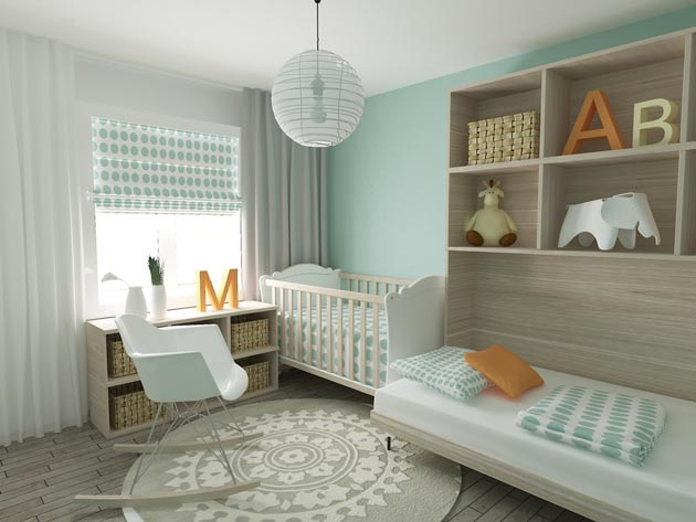 Спальная комната для новорожденного с белой мебелью