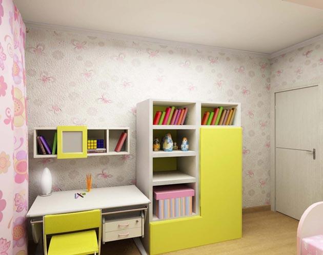 Шкаф и письменный стол в детской для школьницы