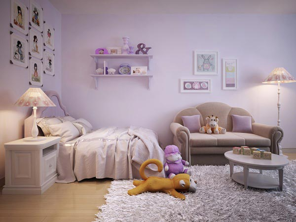 Оформление спальной комнаты в сиреневых оттенках