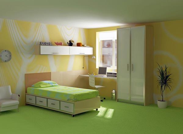 Желто-зеленый интерьер со светлой мебелью