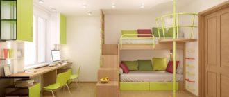 Спальня для двоих детей с игровой и рабочей зоной