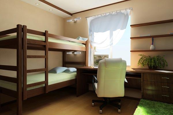 Двухъярусная кровать с одним письменным столом