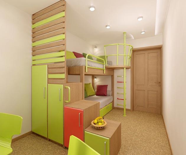 Кровать со шкафчиками для двоих