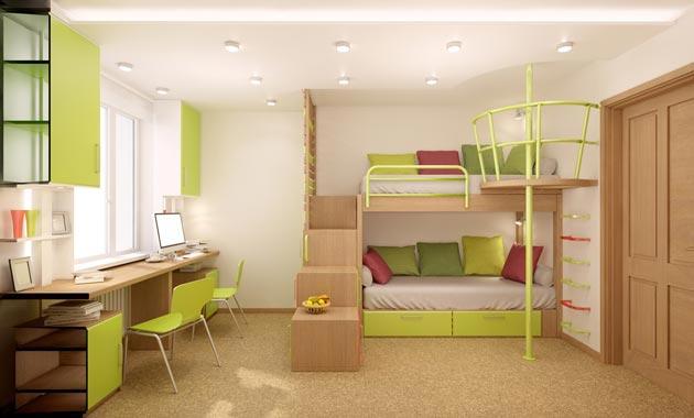 С двухъярусной кроватью и общим столом вдоль окна