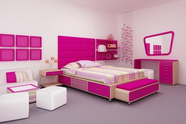 С мебелью и аксессуарами в оттенках розового