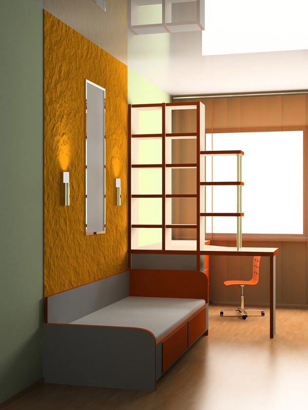 Разделение стеллажом рабочей и спальной зоны