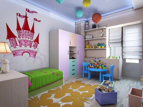 Небольшой нарисованный замок в сказочной детской для девочки