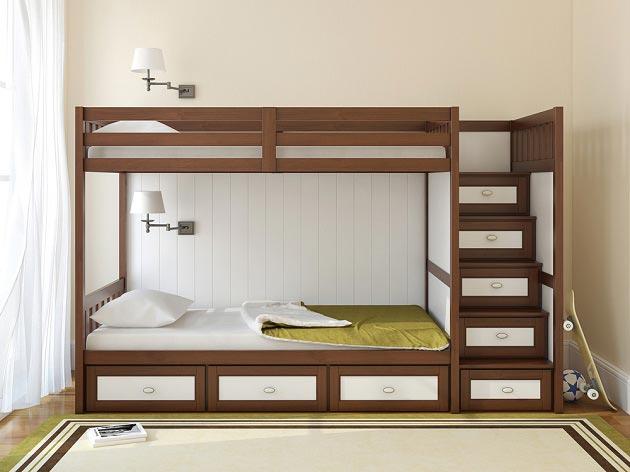 Модель детской двухъярусной кровати с широкими ступеньками