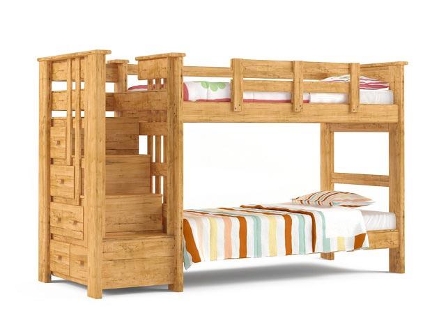 Детская деревянная двухъярусная кровать с широкими ступенями