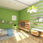 Дизайн детской со стенами окрашенными зеленой краской