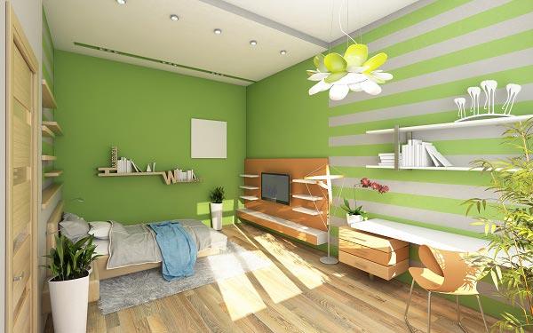 Акцент на стене в зелено белую полоску