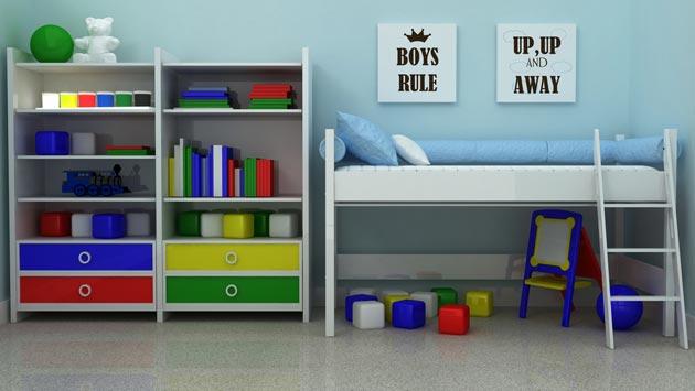 Кровать с игровой зоной и стеллажи