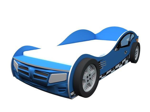 Кровать машинка в синем цвете для мальчика