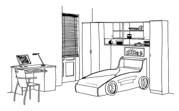 Эскиз комнаты с детской кроватью машинкой