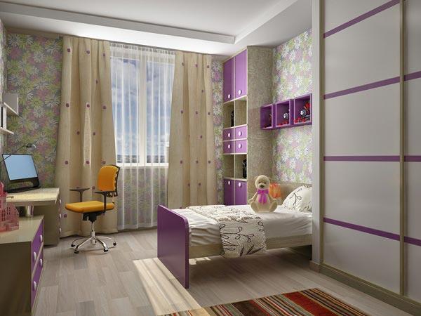 Со шкафом купе, столом, кроватью и стеллажом в сиреневых оттенках