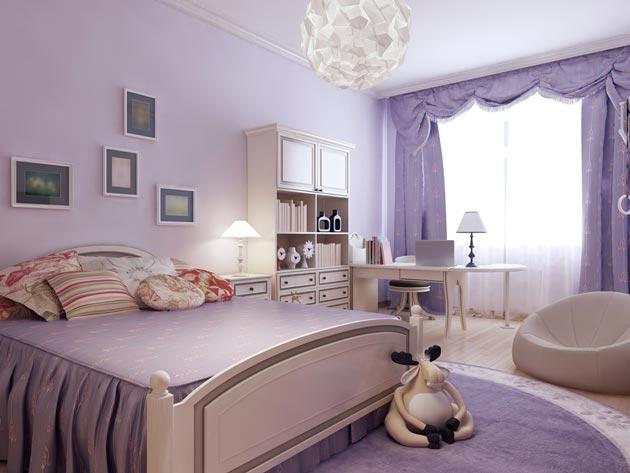 Использование в интерьере сиреневого цвета на текстиле и стенах