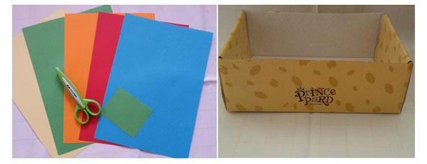 Цветная бумага, ножницы для изготовления коробки для хранения игрушек