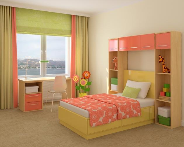 Яркие акценты в детской комнате для девочки